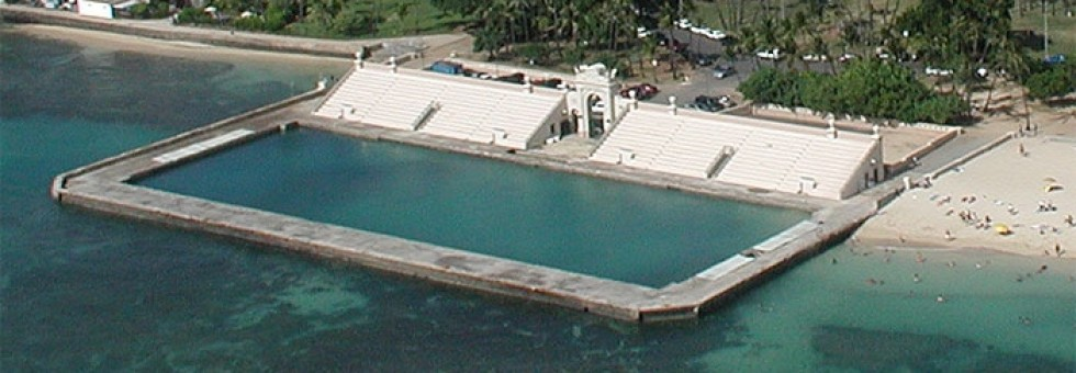 An aerial view of the Natatorium as it exists today.